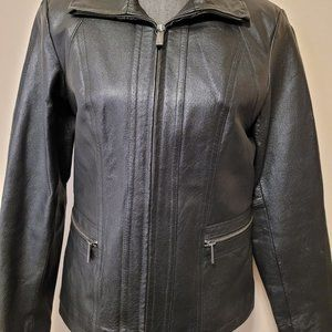 East 5th Leather Jacket Full Zip Black Women Small